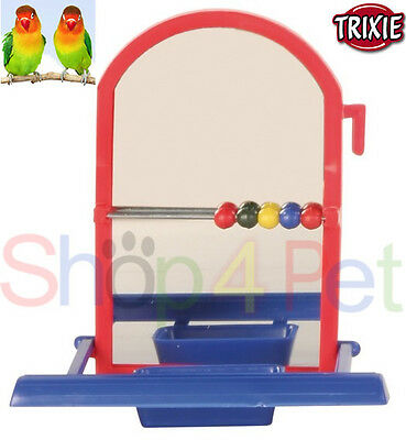 Trixie Landing Mirror -Beads & Bowl  Budgie, Canary-Small Birds *various Colours