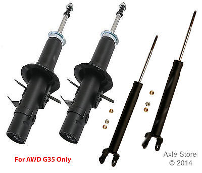 Full Set 4 New Struts Shocks OE Repl. Ltd Lifetime Warranty Fit AWD G35 Only