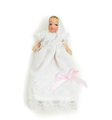 Brand New 1:12 Scale Dolls House Miniature Porcelain Baby Boy Dolls Christening