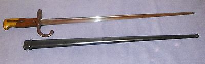 1879 T-back Sword Bayonet For French M1874 Gras Rifle Antique France w/ Scabbard