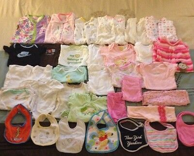 Lot of 34 Gently Used Baby Girl Clothes Size 3-6 Mo. Carters, Shirts, Pants, PJs