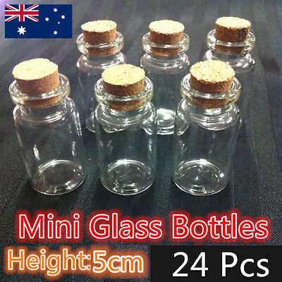 24pcs 5cm Craft Mini Small Tiny Clear Glass Bottles Jar Cork lid Vials Wholesale