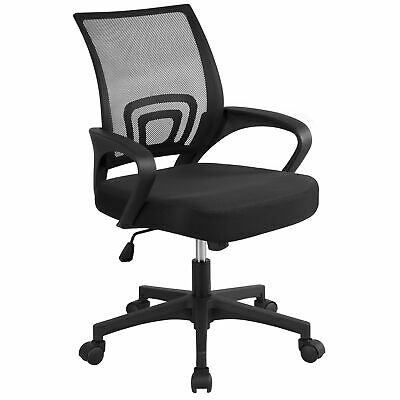 Black Executive Ergonomic Mesh Computer Office Desk Task Midback Chair w/ Hanger