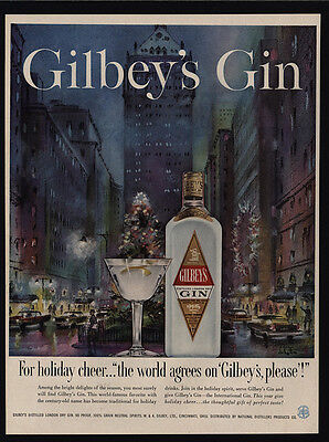 1958 GILBEY'S Gin - New York City Park Avenue DE LATTRE Christmas Art VINTAGE AD