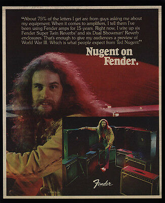 1978 TED NUGENT on FENDER Amplifiers VINTAGE AD