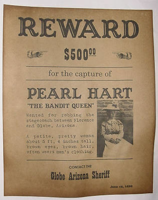 Pearl Hart Wanted Poster, Western, Lady Outlaw, Old West