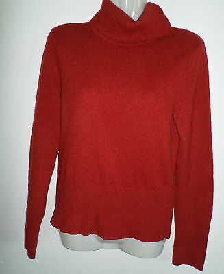 DANIEL BISHOP 100% CASHMERE WOMENS SOLID RED/RUST TURTLE-NECK SWEATER SMALL S