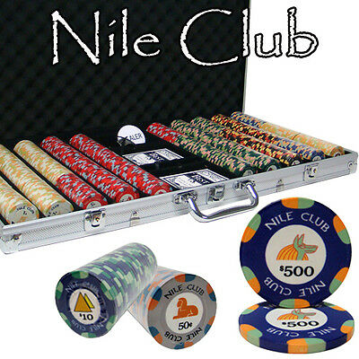 New 750 Nile Club 10g Ceramic Poker Chips Set with Aluminum Case - Pick Chips!