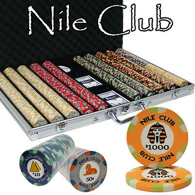New 1000 Nile Club 10g Ceramic Poker Chips Set with Aluminum Case - Pick Chips!