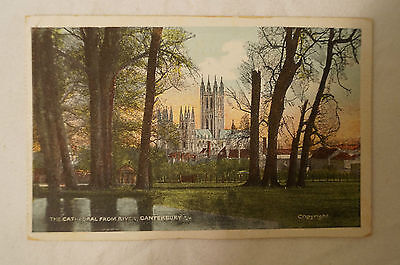 The Cathedral from River - Canterbury - England - Vintage-Collectable -Postcard.