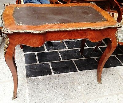 Antique 19Th Wooden Marquetry Desk Baroque Style Louis Xv Furniture Bronze