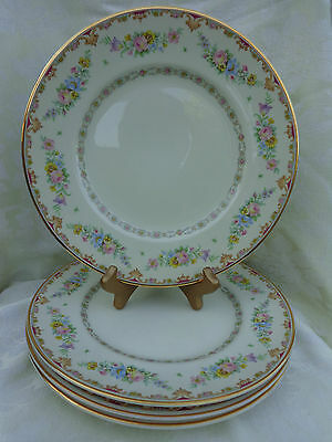 "SYRACUSE MARLENE OLD IVORY 4 DINNER PLATES, 10.25"". MADE IN USA"