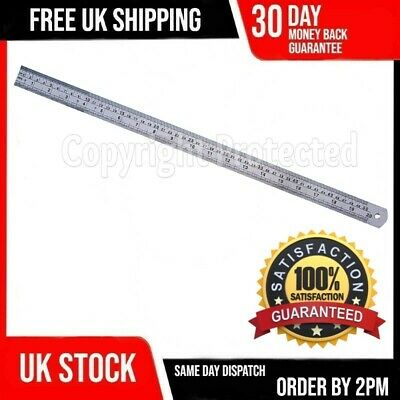 Large Long Metal 50Cm 500Mm Stainless Metric Imperial Dual Markings Ruler 11B