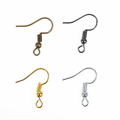 100/500pcs Silver/Golden Plated Coil Wire Metal Earring Hooks Findings, 6colors