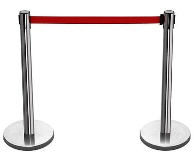 Queue Barrier Posts Long 1.5M Stretch Red Blue Retractable Stainless Steel Pole