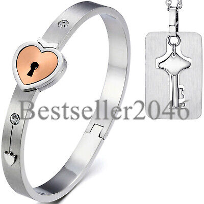 Stainless Steel  Love Heart Lock Bangle Bracelet and Key Pendant Necklace Set