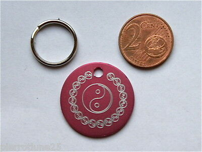 1 MÉDAILLE GRAVEE YING YANG ROSE chat chien 25 mm collier gravure offerte
