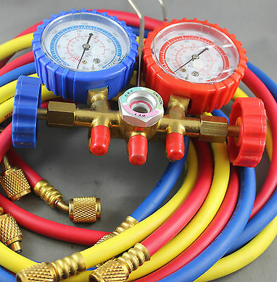 """Air Conditioning Manifold  Gauge R410  With 72"""" 1.8M Long Charging Hose Set"""