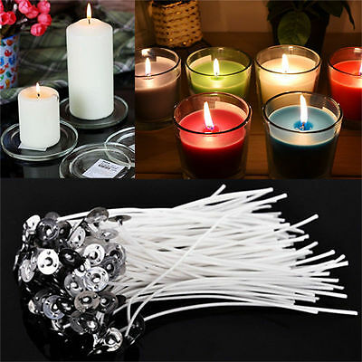 """100pcs Cotton CANDLE WICKS with SUSTAINERS for Teacup Jar Candles 1"""" 2"""" 4"""" 8"""" B1"""