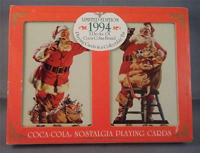 NOS 1994 LE Coca Cola Santa 2 Decks Sealed Playing Cards in Collectible Tin Box