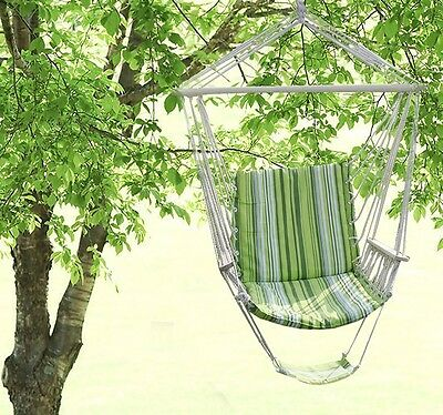 New Porch Beige Cotton Swing Rope Hammock Patio Garden Air Chair Outdoor Seat