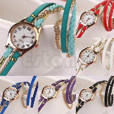 Fashion Vogue Women Girl Rhinestone Faux Leather Sling Chain Quartz Wrist Watch