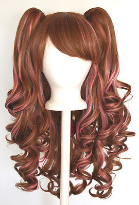20'' Lolita Wig + 2 Pig Tails Set  Auburn Brown and Rose Pink Gothic Sweet NEW