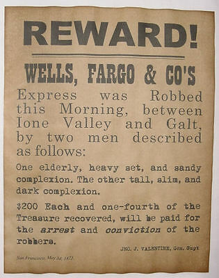 Wells, Fargo, & Co. Robbery Reward Poster, old west, western, wanted