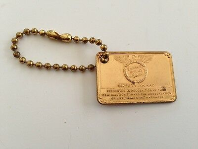 Vintage Rare Employers Mutual Of Wausau Safety Award Medallion Key Chain Estate