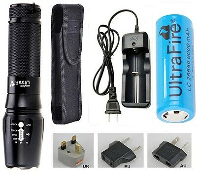 2000LM UltraFire CREE XM-L T6 Torch Flashlight+Charger Holster +1X26650 Battery