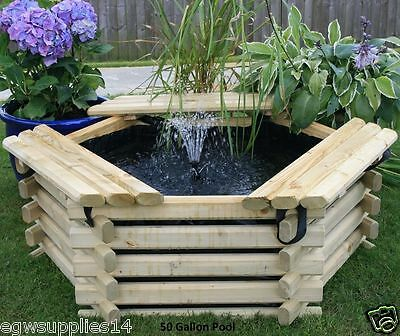 New 50 Gallon Wooden Garden Pond / Pool Water Feature With Liner & Fountain