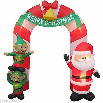 9' Merry Christmas Santa and Elves Archway Airblown Inflatable Outdoor Decor