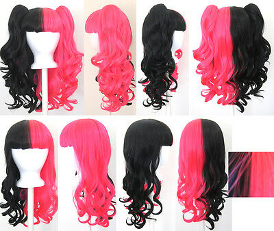 20/'/' Lolita Wig Red Mix Blend Cosplay Gothic Sweet NEW 2 Pig Tails Set Black