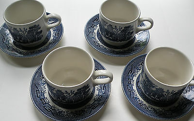 4 Churchill Blue Willow cup & saucer sets Staffordshire England, dishwasher safe