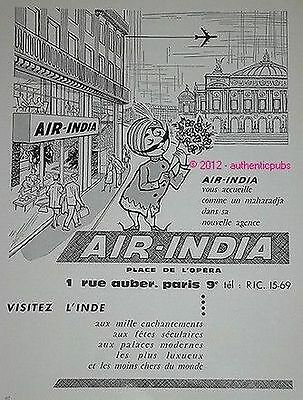 Publicite Air India Cie Aerienne Aviation Maharadja De 1961 French Ad Air Lines