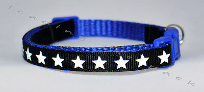 Reflective stars custom cat safety collar & bell, you pick colour
