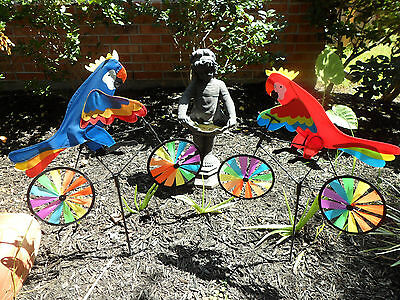 Animal Parrot on Bike Windmill Wind Spinner Whirligig Garden Lawn Yard Deco