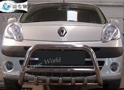RENAULT KANGOO BULL BAR CHROME AXLE NUDGE A-BAR 60mm 2008+Up S.STEEL OFFER NEW