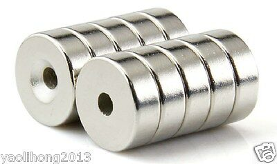 100pcs N50 Strong Round Ring Magnets 15mm x 4mm Hole 5mm Rare Earth Neodymium
