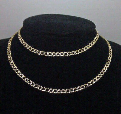 10K Yellow Gold Link Chain With Diamond Cuts 4mm 24 Inches Long #A4B6