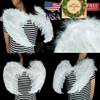 Costume Feather Angel Wings For Child 5-8 Years Old Dress Up Photo Props