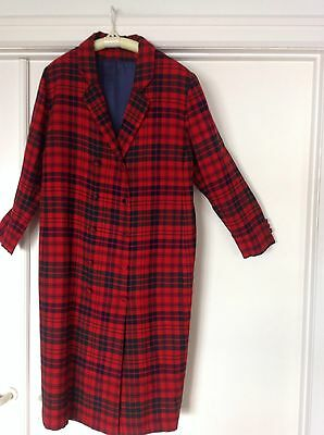 Vintage Coat Dress Red Tartan Plaid Sz M/L Covered Buttons Double Breasted