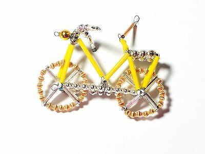 VINTAGE MERCURY BLOWN GLASS BEAD WIRED CHRISTMAS ORNAMENT BIKE ORIGINAL YELLOW