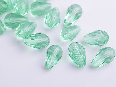 20pc Teardrop Faceted Crystal Glass Charms Loose Spacer Beads 12X8mm Light Green