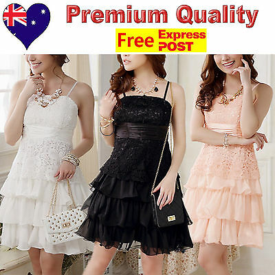8257800932 Lace   Chiffon Girls Party Dress Jnr Bridesmaid Flower Girl Dress Size 8 to  14