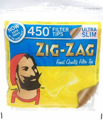 1, 5, 10 X 450 Zig Zag Ultra Slim Filter Tips Resealable Bag