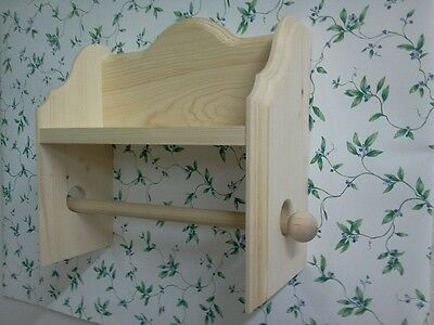 BEAUTIFUL SOLID PINE PAPER TOWEL HOLDER WITH SHELF UNFINISHED