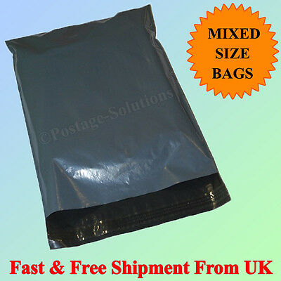 20 Plastic Grey Strong Mailing & Packaging Postal Bags Mixed Size 14x21 & 17x24