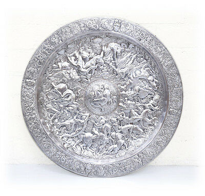 """Continental Hand Engraved Large 27"""" Round Silverplate Platter, Mid 19th Century"""
