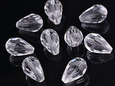 10pcs 18X12mm Teardrop Faceted Crystal Glass Charm Loose Spacer Beads Clear New